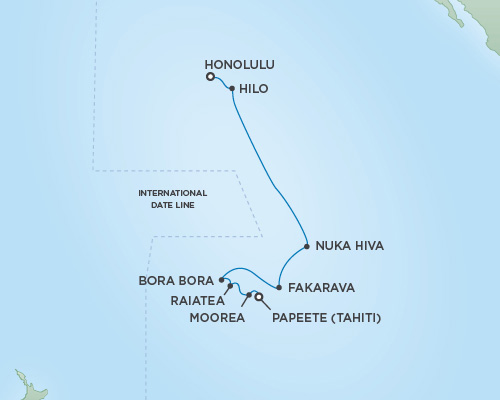 REGENT Cruises RSSC Regent Seven Mariner Map Detail Honolulu, Oahu, Hawaii to Papeete, Tahiti November 1-15 2018 - 15 Days