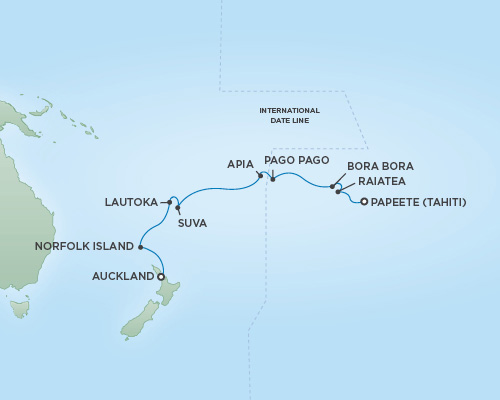 Cruises RSSC Regent Seven Mariner Map Detail Papeete, Tahiti to Auckland, New Zealand November 15-30 2018 - 15 Days