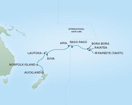 Regent/Radisson Luxury Cruises RSSC Regent Seven Mariner Map Detail Papeete, Tahiti to Auckland, New Zealand November 15-30 2022 - 15 Days