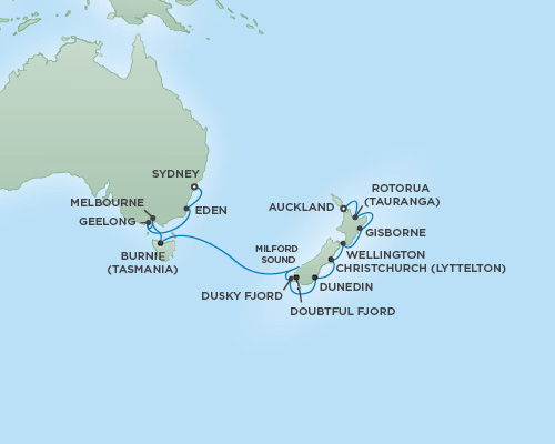 REGENT Cruises RSSC Regent Seven Mariner Map Detail Auckland, New Zealand to Sydney, Australia November 30 December 15 2018 - 15 Days