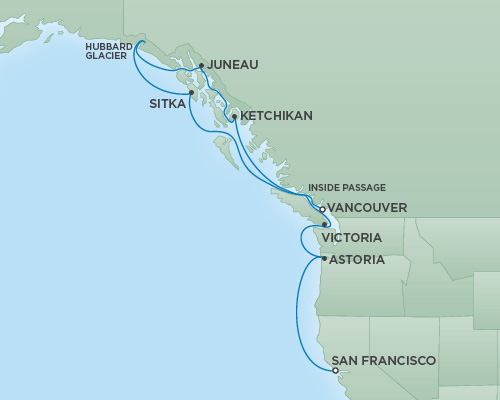 REGENT Cruises RSSC Regent Seven Mariner Map Detail Vancouver, Canada to San Francisco, California September 12-22 2018 - 10 Days