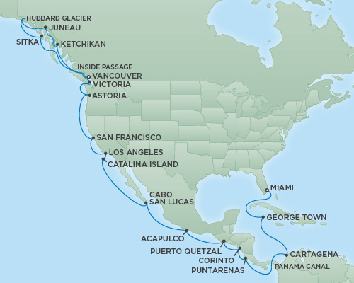 Cruises RSSC Regent Seven Mariner Map Detail Vancouver, Canada to Miami, Florida September 12 October 10 2018 - 28 Days