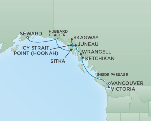 REGENT Cruises RSSC Regent Seven Mariner Map Detail Anchorage (Seward), Alaska to Vancouver, Canada September 2-12 2018 - 10 Days