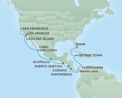 Cruises RSSC Regent Seven Mariner Map Detail San Francisco, California to Miami, Florida September 22 October 10 2018 - 18 Days