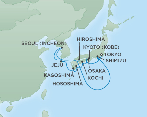 Just Regent Cruises Cruises RSSC Regent Seven Mariner Map Detail Tokyo, Japan to Tokyo, Japan April 15-27 2019 - 12 Days
