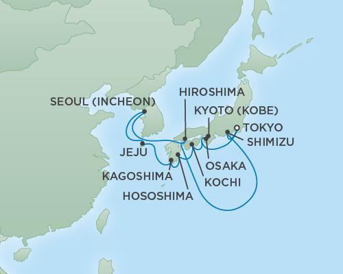 Regent/Radisson Luxury Cruises RSSC Regent Seven Mariner Map Detail Tokyo, Japan to Tokyo, Japan April 15-27 2019 - 12 Days
