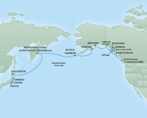 Just Regent Cruises Cruises RSSC Regent Seven Mariner Map Detail Tokyo, Japan to Vancouver, Canada April 27 May 16 2019 - 19 Days