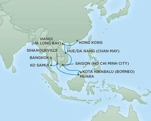 Regent/Radisson Luxury Cruises RSSC Regent Seven Mariner Map Detail Bangkok (Laem Chabang), Thailand to Hong Kong, China February 25 March 13 2019 - 16 Days