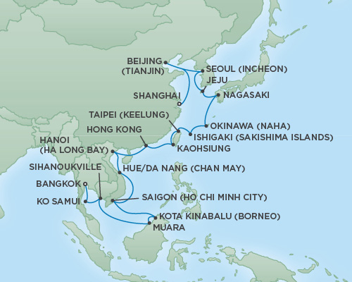 Regent/Radisson Luxury Cruises RSSC Regent Seven Mariner Map Detail Bangkok (Laem Chabang), Thailand to Shanghai, China February 25 March 28 2019 - 31 Days