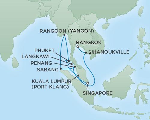 Regent/Radisson Luxury Cruises RSSC Regent Seven Mariner Map Detail Singapore, Singapore to Bangkok (Laem Chabang), Thailand February 9-25 2019 - 16 Days