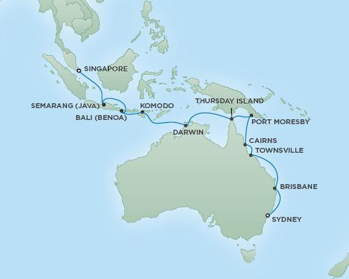 Just Regent Cruises Cruises RSSC Regent Seven Mariner Map Detail Sydney, Australia to Singapore, Singapore January 20 February 9 2019 - 20 Days