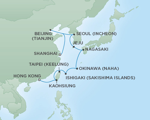 Regent/Radisson Luxury Cruises RSSC Regent Seven Mariner Map Detail Hong Kong, China to Shanghai, China March 13-28 2019 - 16 Days