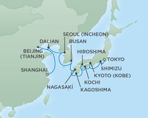 Just Regent Cruises Cruises RSSC Regent Seven Mariner Map Detail Shanghai, China to Tokyo, Japan March 28 April 15 2019 - 18 Days