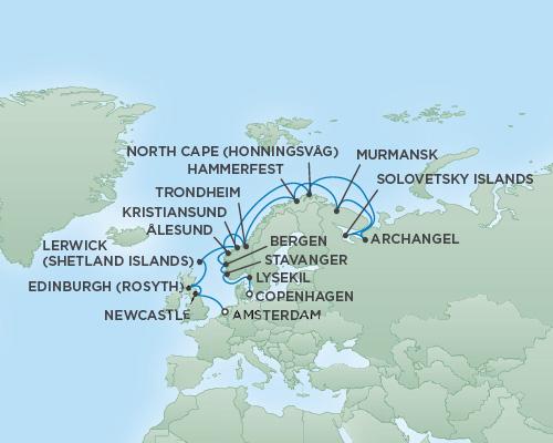 Just Regent Seven Seas Cruises Cruises RSSC Regent Seven Navigator Map Detail Copenhagen, Denmark to Amsterdam, Netherlands August 1-21 2020 - 20 Days