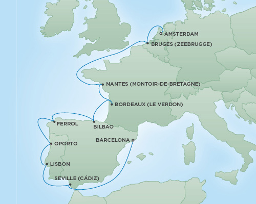 REGENT Cruises RSSC Regent Seven Navigator Map Detail Amsterdam, Netherlands to Barcelona, Spain August 21 September 1 2018 - 11 Days