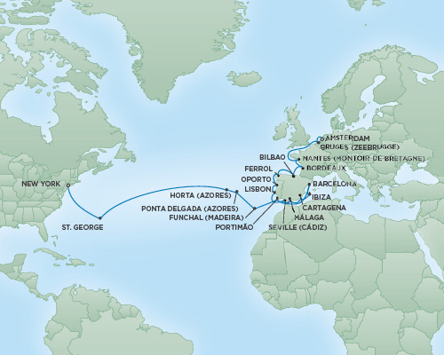 Cruises RSSC Regent Seven Navigator Map Detail Amsterdam, Netherlands to New York City, New York August 21 September 18 2018 - 28 Days