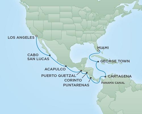 Regent/Radisson Luxury Cruises RSSC Regent Seven Navigator Map Detail Miami, Florida to Los Angeles, California December 19 2018 January 4 2019 - 16 Days