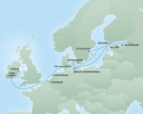 Regent/Radisson Luxury Cruises RSSC Regent Seven Navigator Map Detail Dublin, Ireland to Copenhagen, Denmark July 18 August 1 2022 - 14 Days