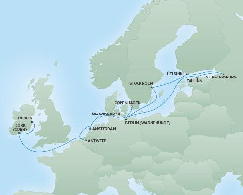 Regent/Radisson Luxury Cruises RSSC Regent Seven Navigator Map Detail Dublin, Ireland to Copenhagen, Denmark July 18 August 1 2022 - 14 Days