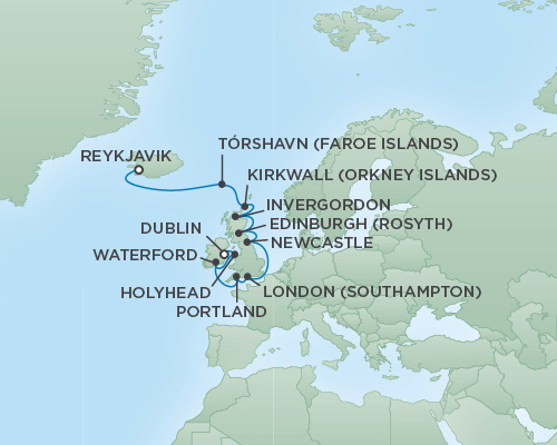 Just Regent Cruises Cruises RSSC Regent Seven Navigator Map Detail Reykjavik, Iceland to Dublin, Ireland July 6-18 2018 - 12 Days