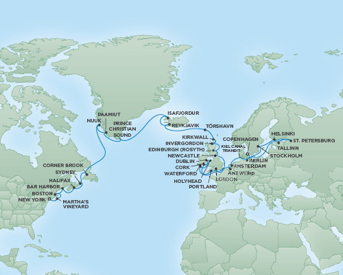 Cruises RSSC Regent Seven Navigator Map Detail New York City, New York to Copenhagen, Denmark June 21 August 1 2018 - 41 Days