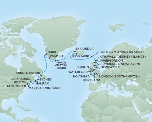 Regent/Radisson Luxury Cruises RSSC Regent Seven Navigator Map Detail New York City, New York to Dublin, Ireland June 21 July 18 2022 - 27 Days