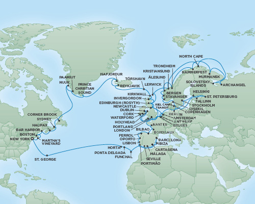 Just Regent Cruises Cruises RSSC Regent Seven Navigator Map Detail New York City, New York to New York City, New York June 21 September 18 2018 - 89 Days