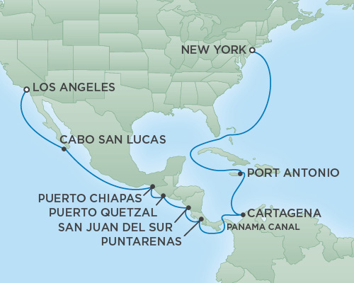 Cruises RSSC Regent Seven Navigator Map Detail Los Angeles, CA, United States to New York City, New York June 3-21 2018 - 18 Days