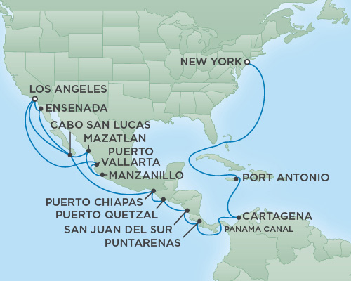 Cruises RSSC Regent Seven Navigator Map Detail Los Angeles, CA, United States to New York City, New York May 25 June 21 2018 - 27 Days