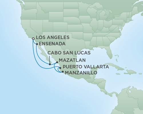 Just Regent Seven Seas Cruises Cruises RSSC Regent Seven Navigator Map Detail Los Angeles, CA, United States to Los Angeles, California May 25 June 3 2020 -  Days