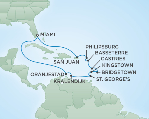 Cruises RSSC Regent Seven Navigator Map Detail Miami, Florida to Miami, Florida November 11-25 2018 - 14 Days