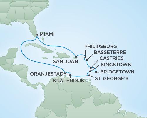 Just Regent Cruises Cruises RSSC Regent Seven Navigator Map Detail Miami, Florida to Miami, Florida November 11-25 2018 - 14 Days