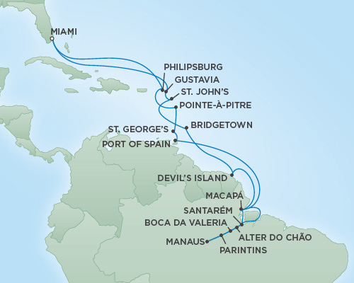 Regent/Radisson Luxury Cruises RSSC Regent Seven Navigator Map Detail Miami, Florida to Miami, Florida November 25 December 19 2022 - 24 Days