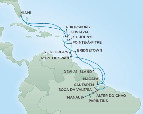 Just Regent Cruises Cruises RSSC Regent Seven Navigator Map Detail Miami, Florida to Miami, Florida November 25 December 19 2018 - 24 Days