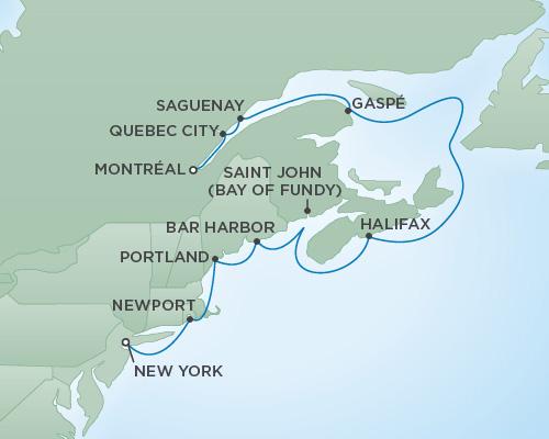 Regent/Radisson Luxury Cruises RSSC Regent Seven Navigator Map Detail New York City, New York to Montréal, Canada October 18-28 2022 - 10 Days