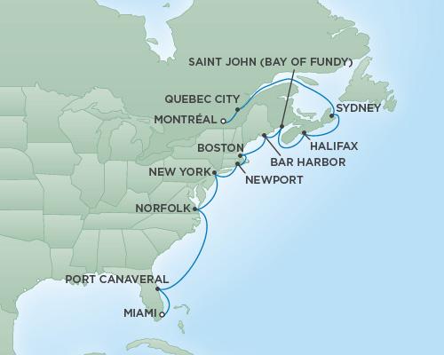REGENT Cruises RSSC Regent Seven Navigator Map Detail Montréal, Canada to Miami, Florida October 28 November 11 2018 - 14 Days