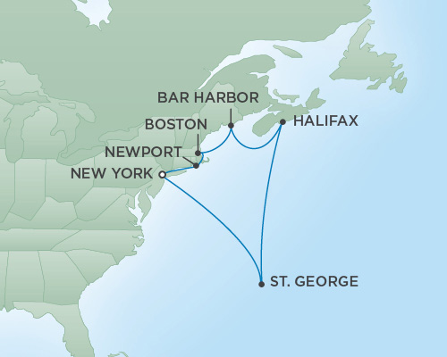 REGENT Cruises RSSC Regent Seven Navigator Map Detail New York City, New York to New York City, New York October 8-18 2018 - 10 Days
