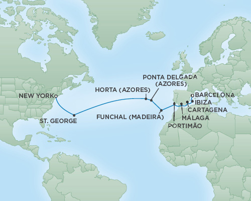 REGENT Cruises RSSC Regent Seven Navigator Map Detail Barcelona, Spain to New York City, New York September 1-18 2018 - 17 Days
