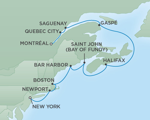 REGENT Cruises RSSC Regent Seven Navigator Map Detail Montréal, Canada to New York City, New York September 28 October 8 2018 - 10 Days