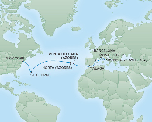 Regent/Radisson Luxury Cruises RSSC Regent Seven Navigator Map Detail Rome (Civitavecchia), Italy to New York City, New York April 29 May 15 2021 - 16 Days