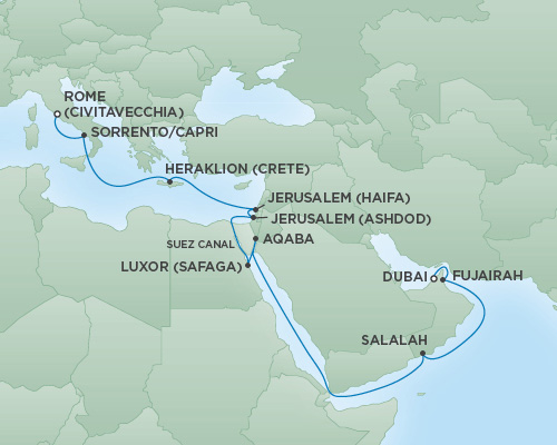 Regent/Radisson Luxury Cruises RSSC Regent Seven Navigator Map Detail Dubai, United Arab Emirates to Rome (Civitavecchia), Italy April 9-29 2019 - 20 Days