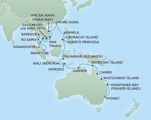Just Regent Seven Seas Cruises Cruises RSSC Regent Seven Navigator Map Detail Sydney, Australia to Singapore, Singapore February 12 March 20 2019 - 36 Days