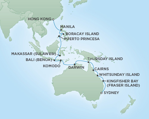 Regent/Radisson Luxury Cruises RSSC Regent Seven Navigator Map Detail Sydney, Australia to Hong Kong, China February 12 March 8 2019 - 24 Days