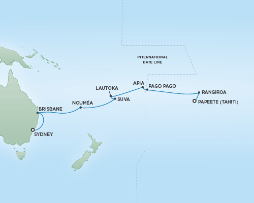 Regent/Radisson Luxury Cruises RSSC Regent Seven Navigator Map Detail Papeete, Tahiti to Sydney, Australia January 24 February 12 2019 - 19 Days