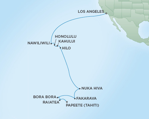 Cruises RSSC Regent Seven Navigator Map Detail Los Angeles, California to Papeete, Tahiti January 4-24 2019 - 20 Days