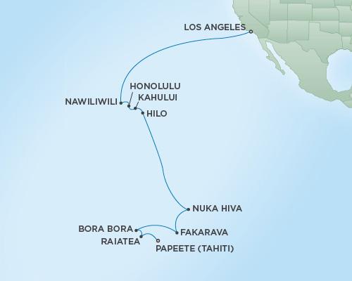 Just Regent Seven Seas Cruises Cruises RSSC Regent Seven Navigator Map Detail Los Angeles, California to Papeete, Tahiti January 4-24 2021 - 20 Days
