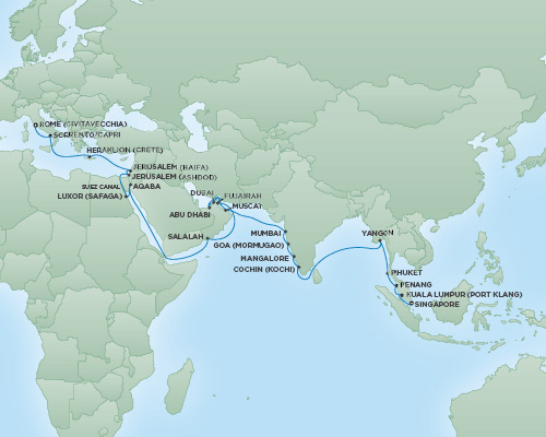 Just Regent Seven Seas Cruises Cruises RSSC Regent Seven Navigator Map Detail Singapore, Singapore to Rome (Civitavecchia), Italy March 20 April 29 2019 - 40 Days