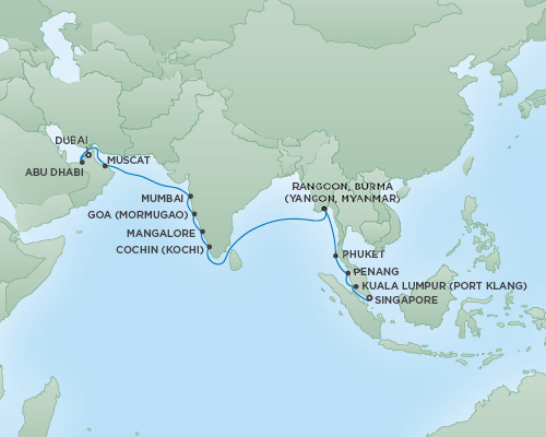 Just Regent Seven Seas Cruises Cruises RSSC Regent Seven Navigator Map Detail Singapore, Singapore to Dubai, United Arab Emirates March 20 April 9 2019 - 20 Days