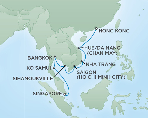 Cruises RSSC Regent Seven Navigator Map Detail Hong Kong, China to Singapore, Singapore March 8-20 2019 - 12 Days