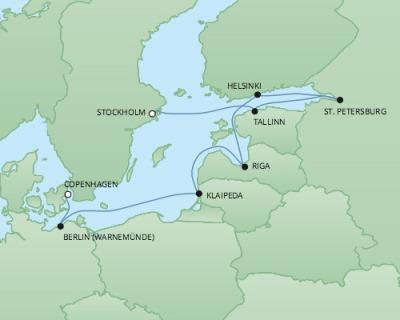 Just Regent Cruises Cruises RSSC Regent Seven Explorer Map Detail Copenhagen, Denmark to Stockholm, Sweden August 21-31 2017 - 10 Days